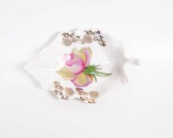 Vintage German Porcelain Leaf Dish Pink Rose Bowl Made in Germany Nut Candy Dish Ring Holder German Handpainted