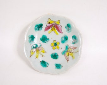Antique Chinese Porcelain Footed Dish Asian Pottery Enamel Hand Painted Butterflies Floral