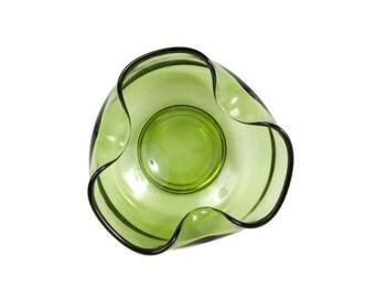 Vintage Avocado Dip Bowl Green Glass Dish Tri Fold Art Glass Anchor Hocking Olive Green Candy Dish Nut Mint Bowl