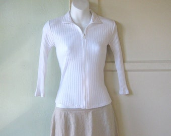 Retro Mod Ribbed White Zip-front Cardigan~XS Lightweight Knit White Top; Free Shipping/U.S.