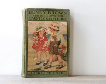 Vintage Bunny Brown book / country cottage style decor / rustic children's book / Laura Lee Hope / childrens classics vintage book series