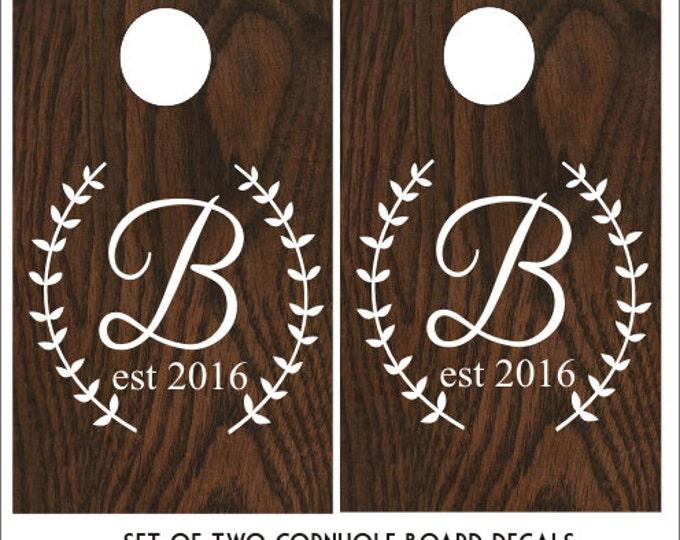 Wedding Monogram Cornhole Decals Set of Two Wedding Cornhole Board Decals Vinyl Decals Laurel Wreath Monogram Decals Rustic Wedding Decor
