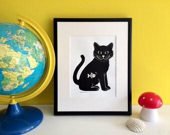 Cat Print, Happy Cat Screen Print, Black Cat Print, Cat Wall Art, Cat illustration, Black Cat, Cat Gifts, Cat Lover, I Love Cats, Funny Cat