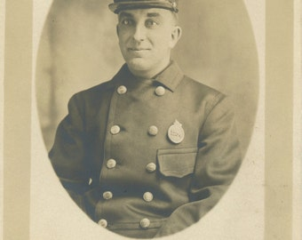 1904-1918 RPPC Fireman - #1254 - AZO Unused - Chicago FD?