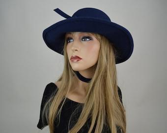 SALE 80s Navy Blue Wide Brim Wool Sun Hat S