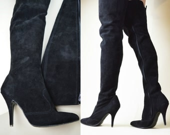 80s 90s Gothic Witchy Black Suede Leather Stiletto Heel Pointy Toe Thigh High Zipper Over The Knee Boots UK 6 / US 8.5 / EU 39