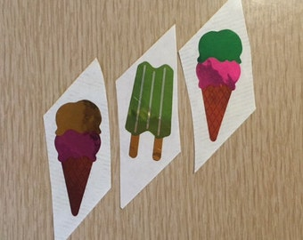 Vintage Hambly Stickers | Foil | 80's | Ice Cream | Popsicle | Green, Pink, Purple