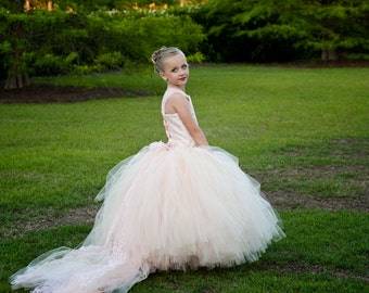 Flower Girl Floor Length Sewn Tutu Dress in Champagne Blush Satin Corset Top with Lace Overlay and Straps Detachable Train CUSTOMIZABLE