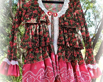 Sweet Romantic Roses Tiered Ruffled Cardigan Rodeo Sweetheart Unique Design