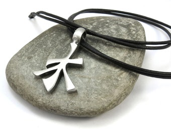 Chinese Water Symbol Necklace w/ Custom Leather Cord - Feng Shui Elemental Jewelry