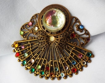 Vintage Handmade Filigree Angel Brooch with Rhinestones and Cabochon