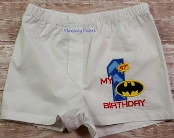 Batman 1st Birthday  - Baby Boys Boxer Shorts - Super Hero Birthday - Photo Prop