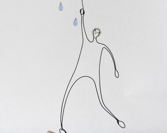 Raindrops and Umbrella Man - Small Wire Sculpture - Wire Drawing - Quirky Sculpture - Gift - Storytelling Art - Wedding Gift - Mini Art
