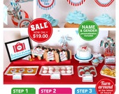 Airplane Baby Shower Package Personalized FULL Collection Set - PRINTABLE DIY - BS818CA1x