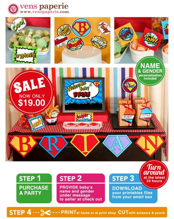 Superhero Baby Shower Package Personalized FULL Collection Set - PRINTABLE DIY - BS825CA1x