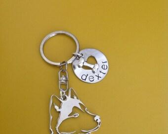 One Siberian Husky silhouette  Custom Keychain Dog Lover