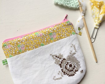 Vintage Brown Floral Cross Stitch Zipper Pouch, Pencil Case, Journaling Case
