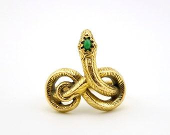 CLEARANCE SALE 14k gold snake ring, Vintage snake ring, jade cabochon, MMA ring, Egyptian snake ring, alternative wedding ring, serpent ring