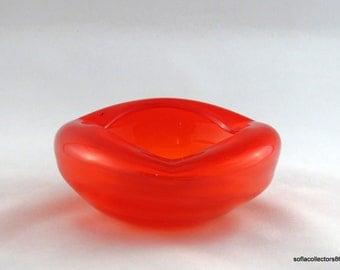 Kreiss Corporation Persimmon Glass Ashtray / Ash Receiver - Vintage 1950s Ashtray