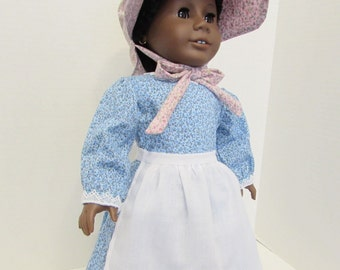 "Pioneer outfit in blue for your 18"" American Girl dolls"