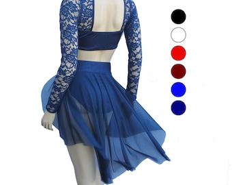 Romantic Lyrical Dance Costume - Several Colors - Lyrical Dance Costumes - Lace Long Sleeve Top and Sheer Skirt