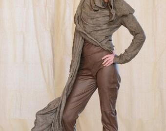 Women's Jacket Long Drape, Sculptural Wired Jersey Wrap, Design Yourself Versatile Looks