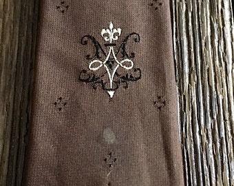 ON SALE - Brown Skinny Tie - 1960s Mullen Bluett All Silk Brown Skinny Men's Necktie - Vintage Skinny Tie