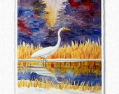 Great Egret Painting 11x14 Original Watercolor and Ink Heron Wall Art by Janet Zeh