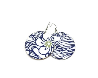Japanese Earrings, Large Floral Pattern, Flowers, Indigo and white, Aizome paper, Large Dangles, Laser cut, Resin finish, Pattern will vary