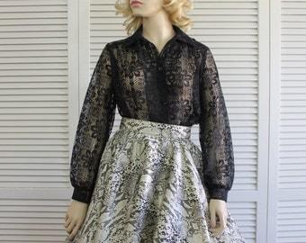 Vintage Black Lace Blouse 19