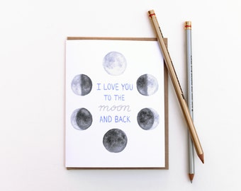 Love Card - I Love You to the Moon and Back - Valentine's Day Card
