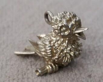 Silver Chick Charm - Vintage Bird Bracelet Charm/Pendant