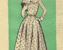 50s Marian Martin Fit and Flare Dress Pattern 9273: Circular Yoke, Fitted Bodice and Flared Skirt. Petite Half Size 14 1/2 Bust 35 inches