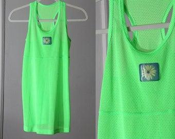 Neon Slime Green Sheer Mesh 90s Dress/Tunic/Tank Top