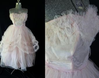 50s Prom Dress Pink Tulle Cupcake Vintage Wedding