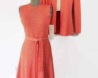 70s Deadstock Picardo Sweater Dress Jacket 2pc. Orange Coral Pointelle Knit