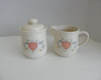 Sugar Bowl & Creamer Pitcher Ceramic  Set MARMALADE Duck Heart