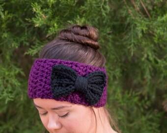 Plum and Black Bow Headband, Crocheted Ear Warmer, Chunky, Crochet, Handmade Knitwear, Women's, Cozy, Knit, Warm Winter Accessory