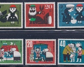 Little Red Riding Hood and Hansel & Gretel - Fairy Tale Vintage Stamps - 1960s Germany -  (4 stamps of each)