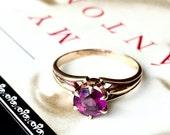 VALENTINES DAY SALE Antique Edwardian Amethyst Art Deco Rose Gold Ring 10K Signed White Wile Warner Edwardian Victorian Engagement Promise R