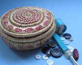 Vintage Small Woven Lidded Sewing Basket