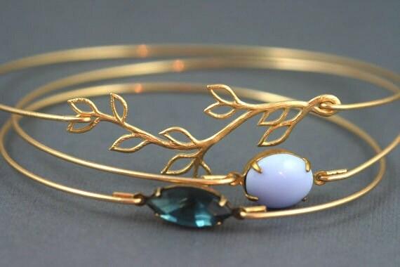 Olive Branch Bangle, Lilac Purple Stone Gold Bangle Bracelet, Montana Blue, Dark Blue Bangle, Long Branch, Branch with Leaves, Greek