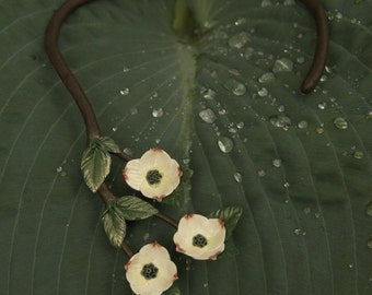 Dogwood Torque Necklace asymmetrical 3 Blooms Small
