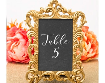 Gold Picture Frame 4 x 6 Size - Baroque Table Number Frames - Wedding Favors Party Favor Victorian Bridal Shower