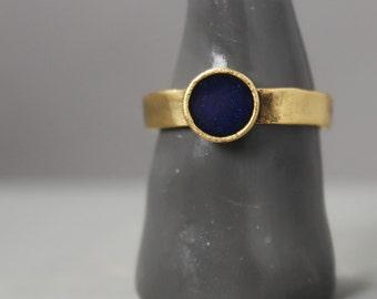 Gold And Navy Ring, Gold Lapis Lazuli  Ring, Lapis Lazuli  Jewelry, Ring, Meditation Jewelry, Pewter Ring, Handmade Ring