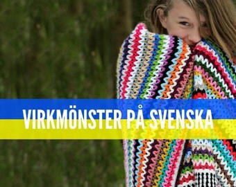 Virkmönster på SVENSKA - Scrappy Happy Filt - Virkad filt - PDF mönster