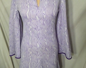 Vintage White and Purple Abstract Dress d13