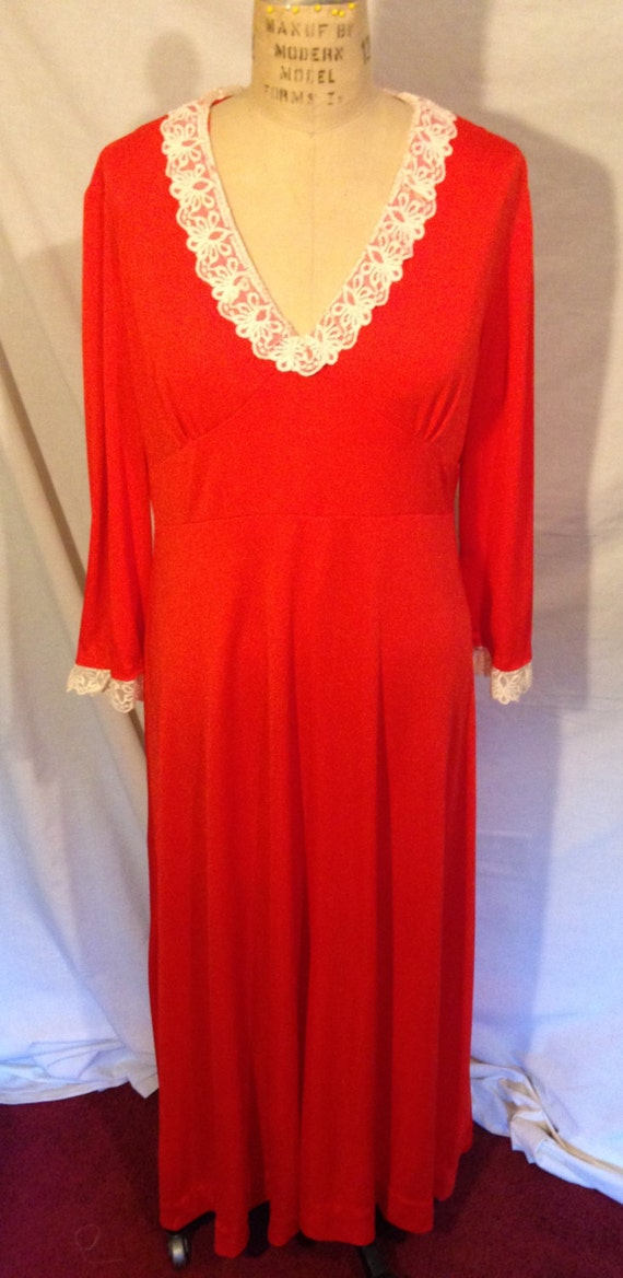 Vintage Orange Night Gown by Dreamaway Size Medium PJ2