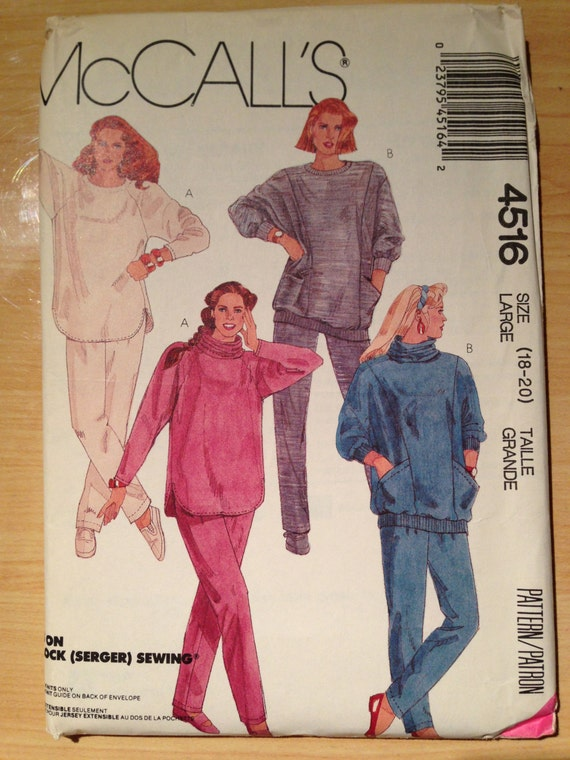 McCalls Sewing Pattern 4516 80s Uncut Misses Tops, Detachable Cowl Pants For Stretch Knits Size 18-20