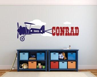Airplane Wall Decal, Airplane Nursery Decal, Airplane Decor, Airplane Baby Shower, Airplane Wall Decal,  Airplane Nursery Name - WD0132